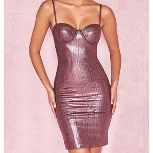 House of CB Pink Metallic Bodycon Dress